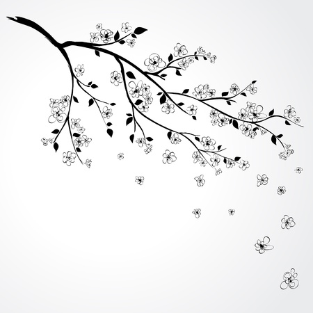 Illustration of flowering branch of Sakura with flying petals