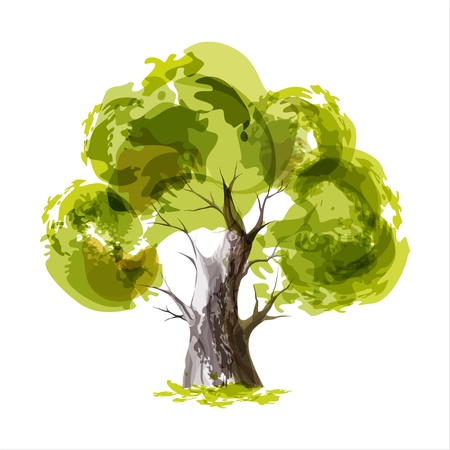 Illustration pour Abstract illustration of stylized green tree - image libre de droit