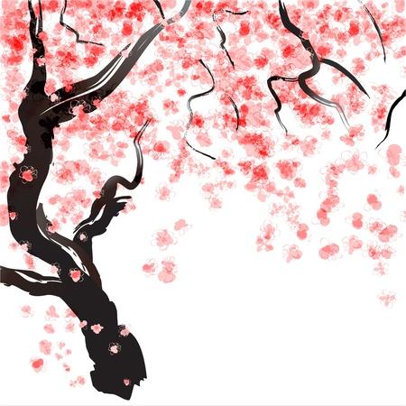 Japanese Cherry tree blossom  Watercolor