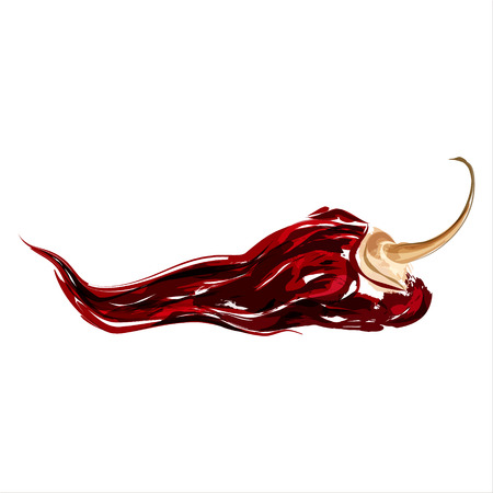 Illustration pour Chipotle. Dried spicy chili pepper. Watercolor sketch. Vector - image libre de droit