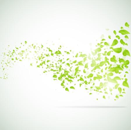 Illustration pour Vector wave background with leaves. - image libre de droit