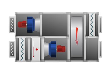 Illustration pour Ventilation system with Thermal Wheel vector illustration. Technical image. - image libre de droit