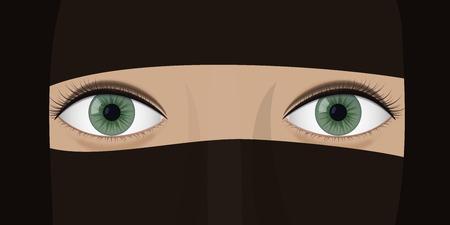 Illustration pour Young woman in burqa. - image libre de droit
