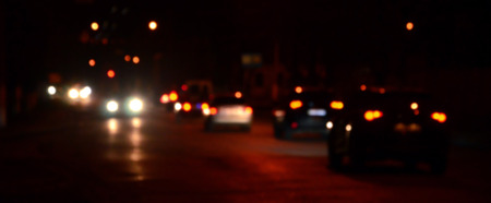 Photo pour Artistic style - Defocused urban abstract texture, blurred background with bokeh of city lights from car on street at night, vintage or retro color tone - image libre de droit