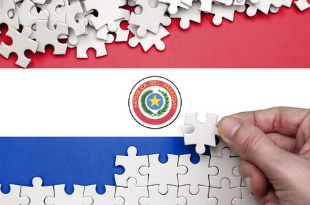 Foto de Paraguay flag  is depicted on a table on which the human hand folds a puzzle of white color. - Imagen libre de derechos