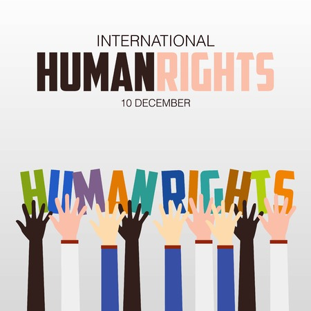 Photo pour Human Rights Day, poster, quotes, vector template - image libre de droit