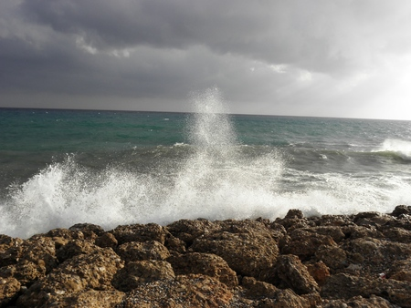Landscape from Mediterranean Sea before the storm