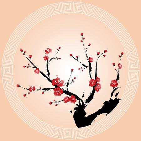 Oriental style painting, Plum blossom