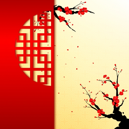 Illustration for Chinese New Year Cherry Blossom Greeting Card - Royalty Free Image