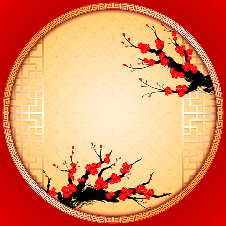 Illustration for Chinese New Year Greeting Card with Cherry Blossom - Royalty Free Image