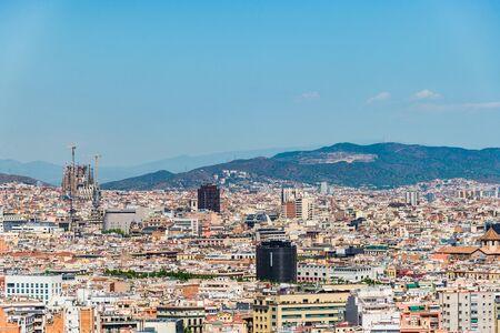 Foto de Panoramic view at Barcelona city and mountains in Spain. - Imagen libre de derechos