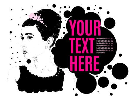 Ilustración de Beautiful retro woman, vector. Copy space.Illustration was created using circles. - Imagen libre de derechos