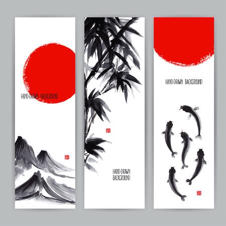 Ilustración de three beautiful banners with Japanese natural motifs. Sumi-e. hand-drawn illustration - Imagen libre de derechos