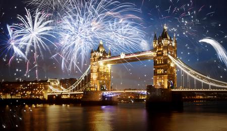 Foto de Tower bridge with firework, celebration of the New Year in London, UK - Imagen libre de derechos