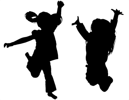 Foto de Jumping Child Silhouette on white background - Imagen libre de derechos