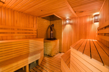 Photo pour interior, spa procedure, beauty cincept, there is lovele decorated space for taking steam buth in comfort and having rest with friends on wooden benches - image libre de droit