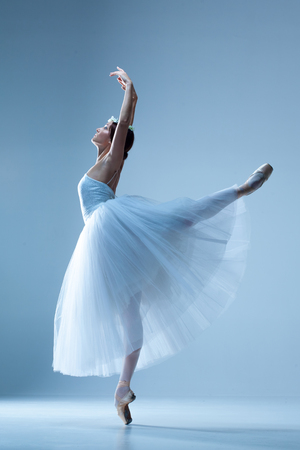 Photo for Portrait of the classical ballerina  in white dress on blue background - Royalty Free Image
