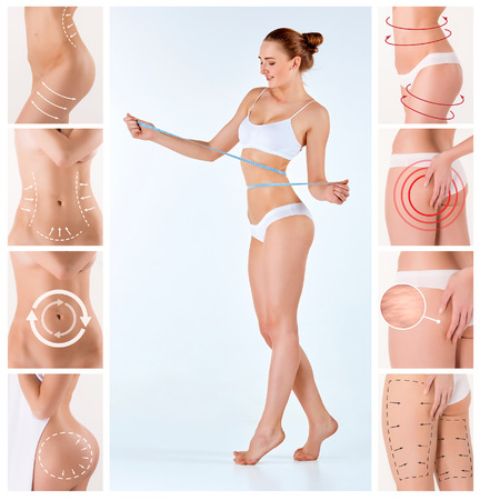 Photo for Collage of female body with the drawing arrows. Fat lose, liposuction and cellulite removal concept. - Royalty Free Image