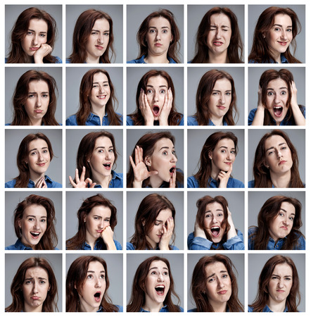 Photo pour Set of young woman's portraits with different emotions on gray background - image libre de droit