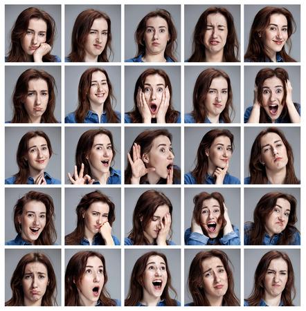 Foto de Set of young woman's portraits with different emotions on gray background - Imagen libre de derechos