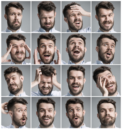 Foto de Set of young man's portraits with different emotions on gray background - Imagen libre de derechos