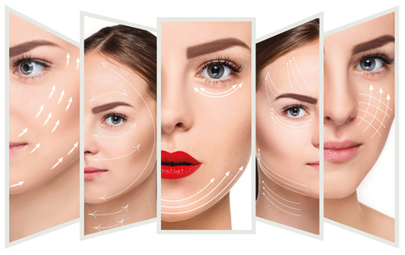 Photo pour The young female face. Antiaging and thread lifting concept - image libre de droit
