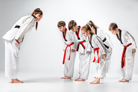 Photo for The studio shot of group of kids training karate martial arts - Royalty Free Image