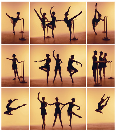 Foto de Composition from silhouettes of three young dancers in ballet poses on a orange background. - Imagen libre de derechos
