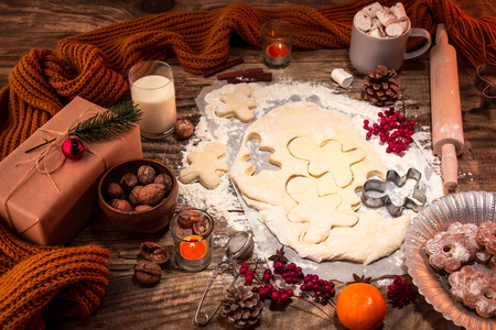 Photo pour Homemade bakery making, gingerbread cookies in form of Christmas tree close-up. - image libre de droit