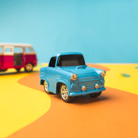 Photo for Vintage miniature car and bus in trendy color, travel concept - Royalty Free Image