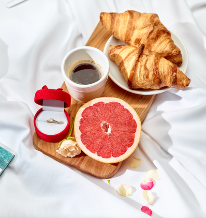 Foto de The Love letter concept on table with breakfast - Imagen libre de derechos
