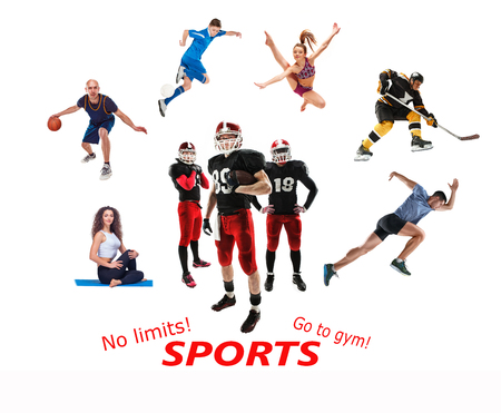 The conceptual multi sports collage with american football, hockey, soccer, jogging, artistic gymnastics, basketball, yoga, pilates sports