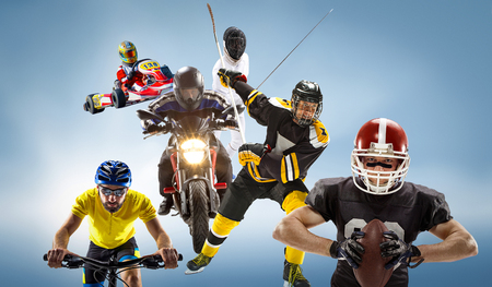 The conceptual multi sports collage with american football, hockey, cyclotourism, fencing, motor sport