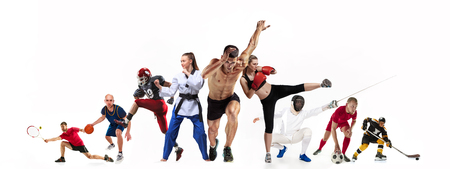 Foto für Sport collage about boxing, soccer, american football, basketball, ice hockey, fencing, jogging, taekwondo, tennis - Lizenzfreies Bild