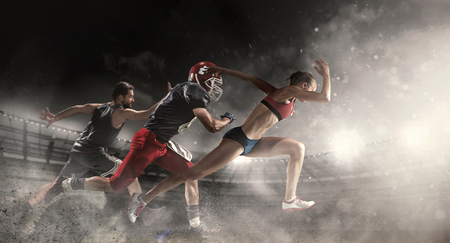 Foto de Multi sports collage about basketball, American football players and fit running woman - Imagen libre de derechos