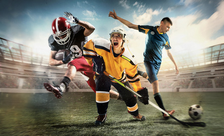 Foto de Multi sports collage about ice hockey, soccer and American football screaming players at stadium - Imagen libre de derechos