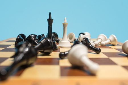 Foto de The chess board and game concept of business ideas and competition. - Imagen libre de derechos