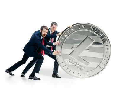 Photo for Two business men holding business icon - Royalty Free Image