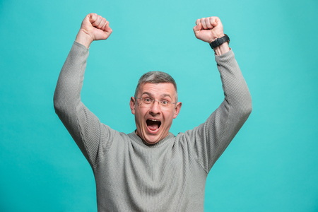 Photo for Winning success man happy ecstatic celebrating being a winner. Dynamic energetic image of male model - Royalty Free Image