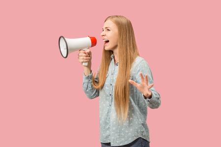 Photo pour Woman making announcement with megaphone - image libre de droit
