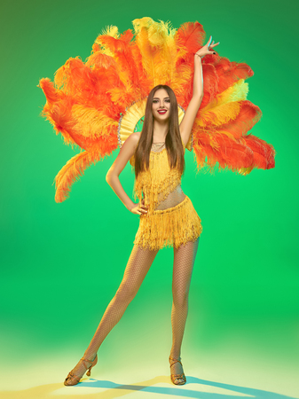 Photo pour young beautiful dancer with carnival feather and fringe posing on studio background - image libre de droit
