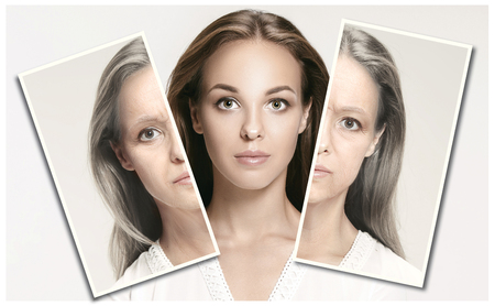 Foto de Comparison. Portrait of beautiful woman with problem and clean skin, aging and youth concept, beauty treatment and lifting. Before and after concept. Youth, old age. Process of aging and rejuvenation - Imagen libre de derechos