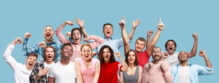 Photo for Collage of winning success happy men and women celebrating being a winner. Dynamic image of caucasian male and female models on blue studio background. Victory, delight concept. Human facial emotions - Royalty Free Image