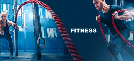 Foto de Collage about man and woman with battle ropes exercise in the fitness gym. CrossFit concept. gym, sport, rope, training, athlete, workout, exercises concept - Imagen libre de derechos