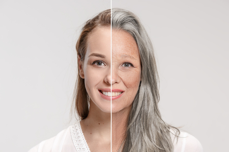 Photo pour Comparison. Portrait of beautiful woman with problem and clean skin, aging and youth concept - image libre de droit