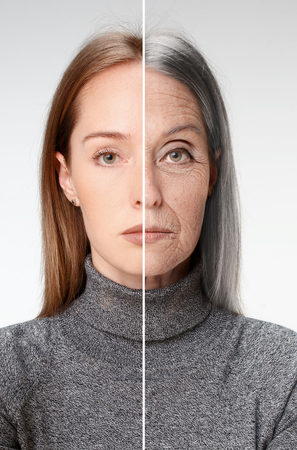 Photo for Comparison. Portrait of beautiful woman with problem and clean skin, aging and youth concept, beauty treatment and lifting. Before and after concept. Youth, old age. Process of aging and rejuvenation - Royalty Free Image