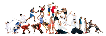 Photo pour Attack. Sport collage about kickboxing, soccer, american football, aikido, rugby, judo, fencing, badminton, taekwondo, tennis and boxing players on white background - image libre de droit