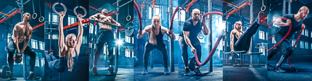 Foto de Collage about man with battle rope and woman in the fitness gym. The gym, sport, rope, training, athlete, workout, exercises concept - Imagen libre de derechos