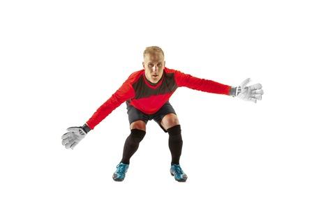 Foto de Goalkeeper ready to save on white studio background. Soccer football concept - Imagen libre de derechos