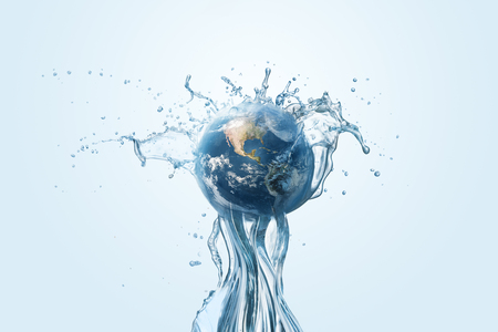 Photo pour Saving water and world environmental protection concept. Eearth, globe, ecology, nature, planet concepts - image libre de droit
